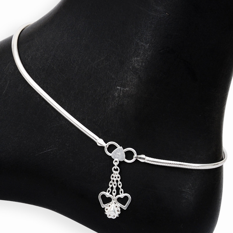 Cuckoo Heart Charms Silver Anklet