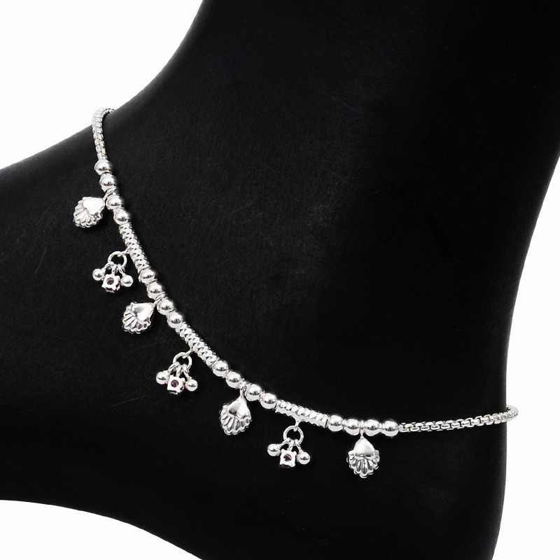 Gorgeous Silver Balls Charms Anklet