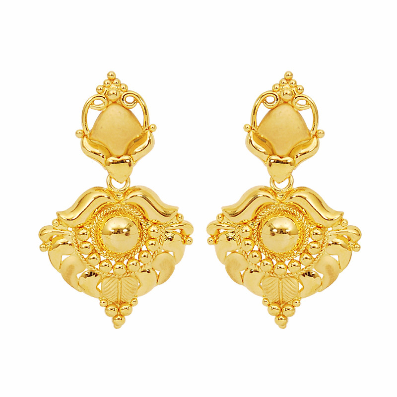 Gold Heart and Arch Earrings