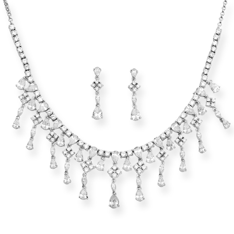 Dazzling Silver Necklace Set