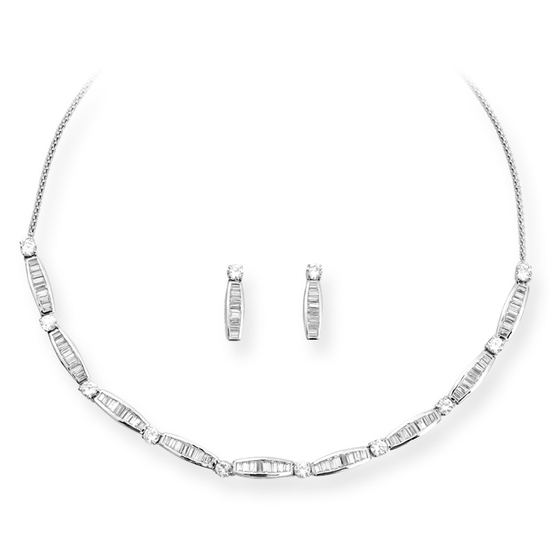 Baguette Stone Channel Setting Necklace Set