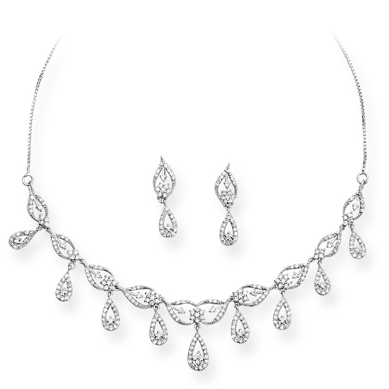 Fancy Big Drops Silver Necklace Set