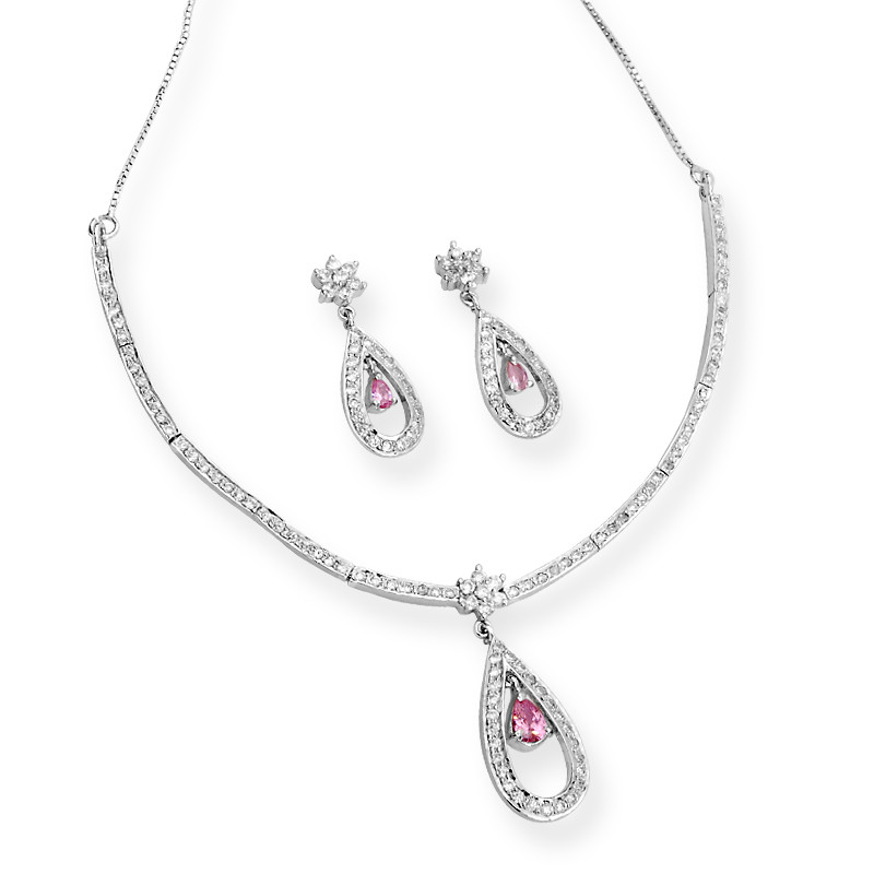 Rose Drop Channel Set Silver Necklace