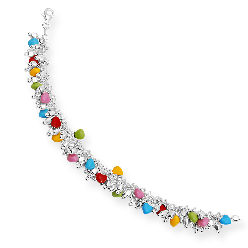 Shiny Balls with Colorful Hearts Dangling Bracelet