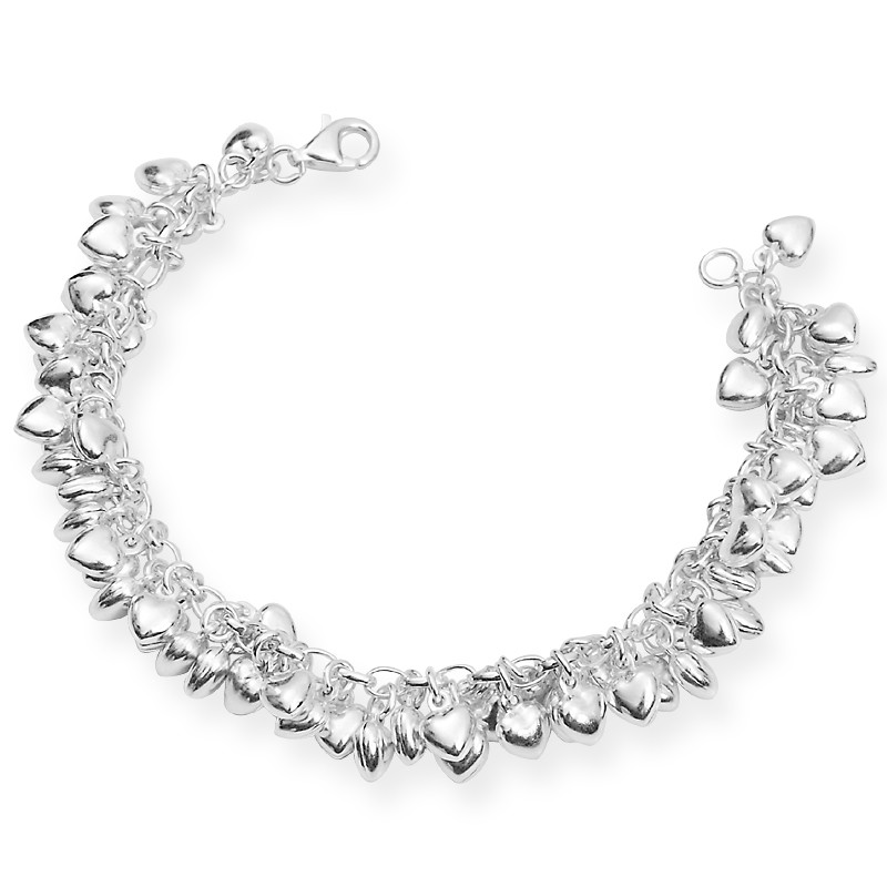 Smoothy Silver Lover Heart Charms Bracelet