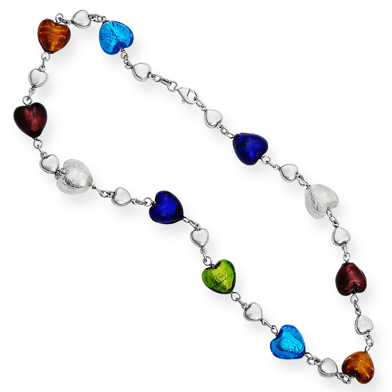 Multicolor Hearts Shiny Silver Chain