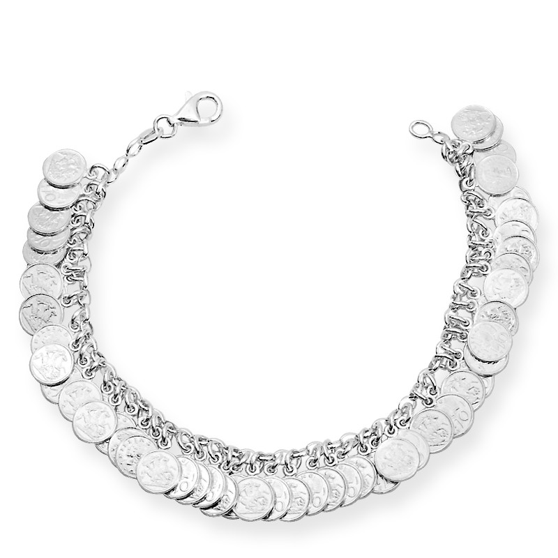 Coin Charms Silver Bracelet