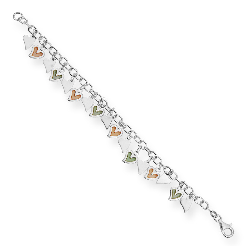 Artisan Crafted Heart Charms Silver Bracelet