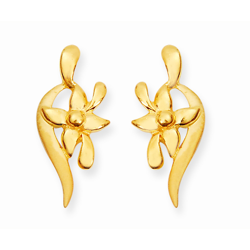Gold Wave Post with Flower Design Casting Stud