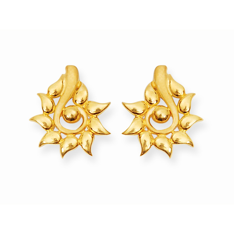 Yellow Gold Casting Flower Earring