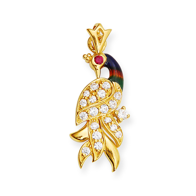 Gold Red Enameled White stone Peacock Pendant