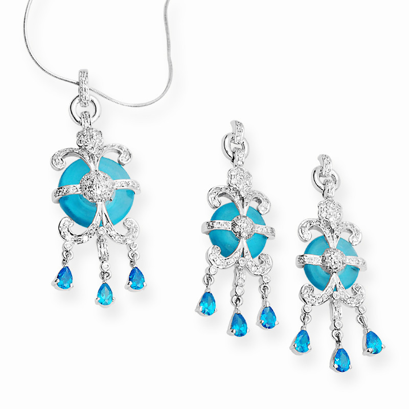 Turmoline With Zircon Chain Pendant Set