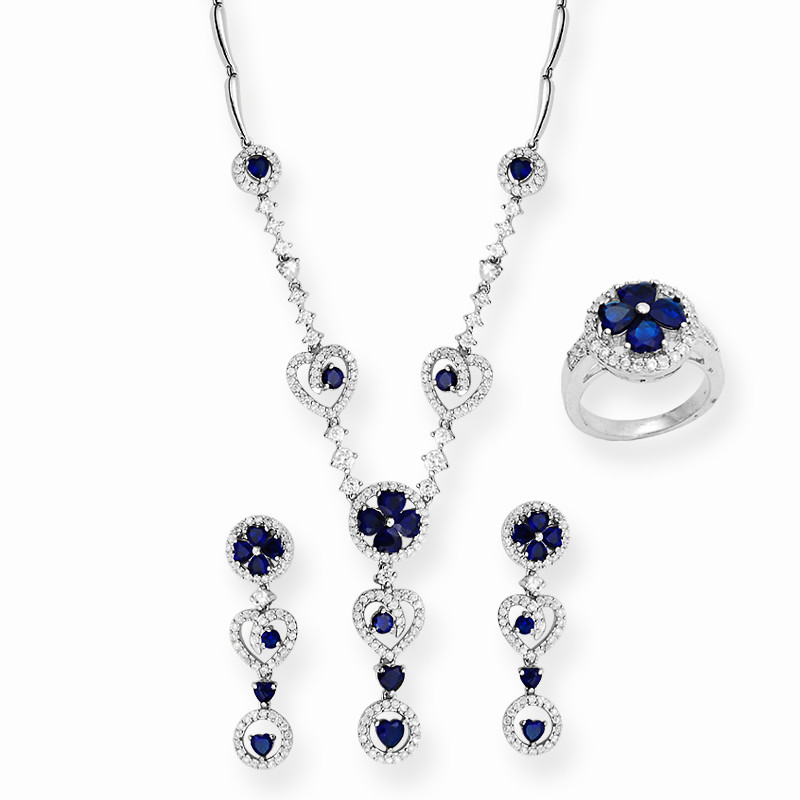 Montana and Zircon Stone Necklace Set