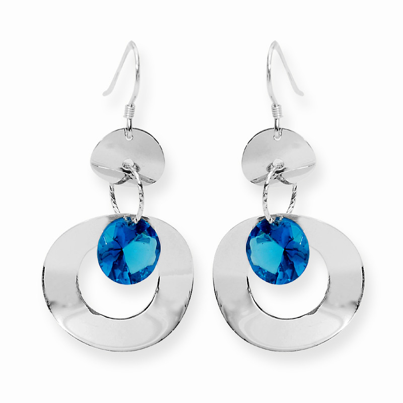 Blue Stone Flat Round Silver Hoop Earrings