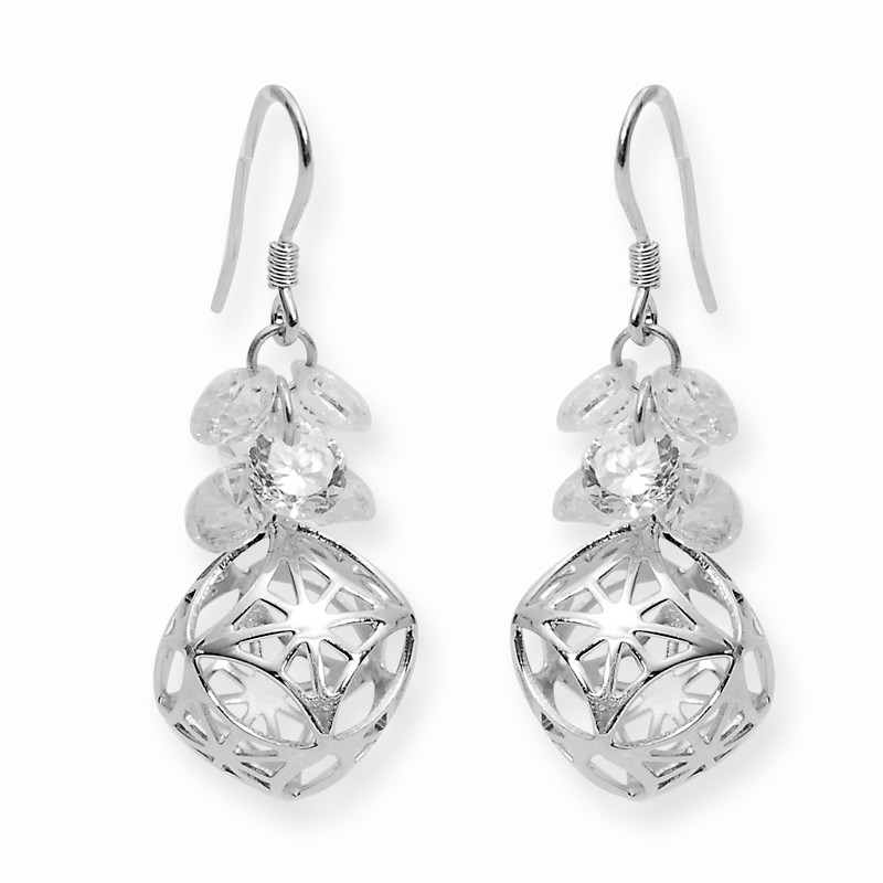 Silver Open Cut Oval Ball Drop Earring