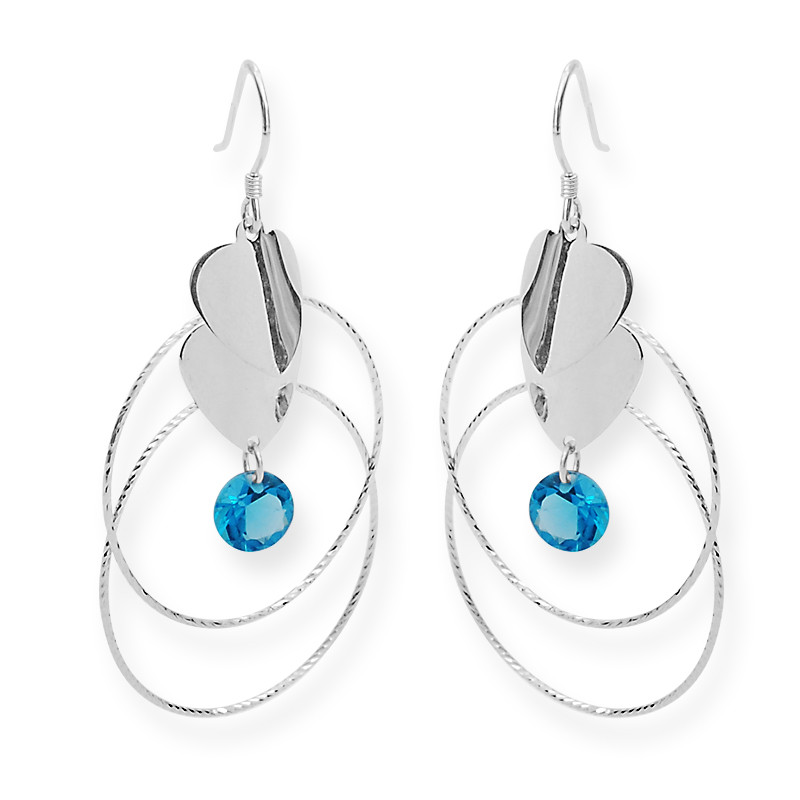 Silver Heart With Blue Stone Drop Hoop Earrings