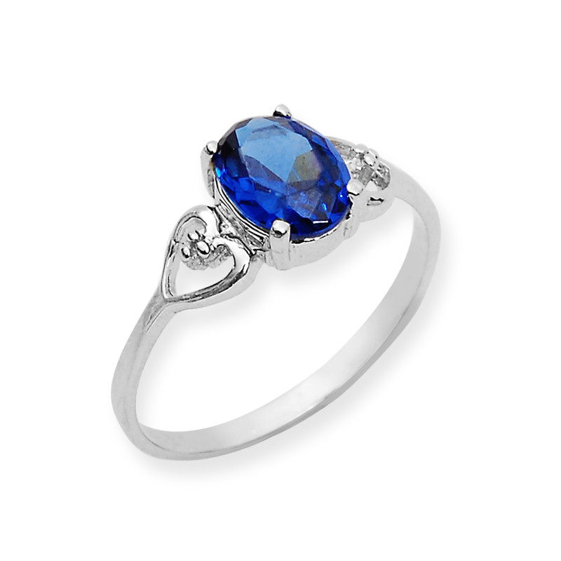 Blue Stone Open Heart Silver Ring