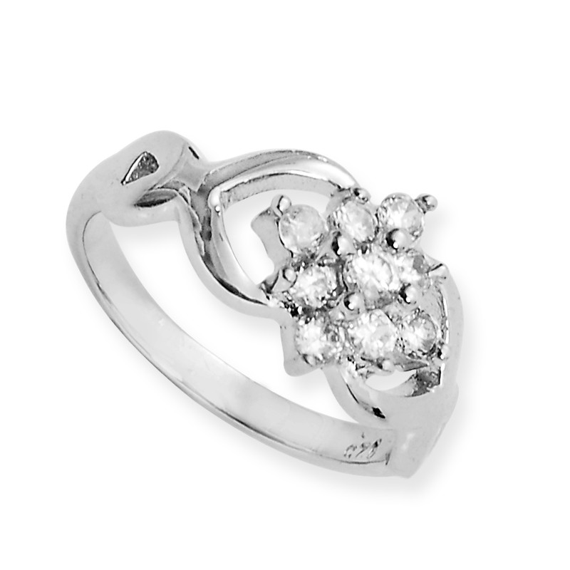 Seven Stone Cluster Dazzle Sterling Silver Ring