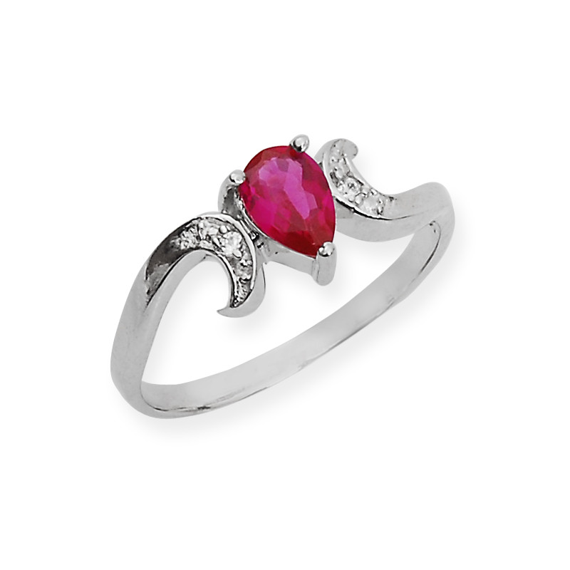 Elegant Pear Shape Red Stone Silver Twist Ring