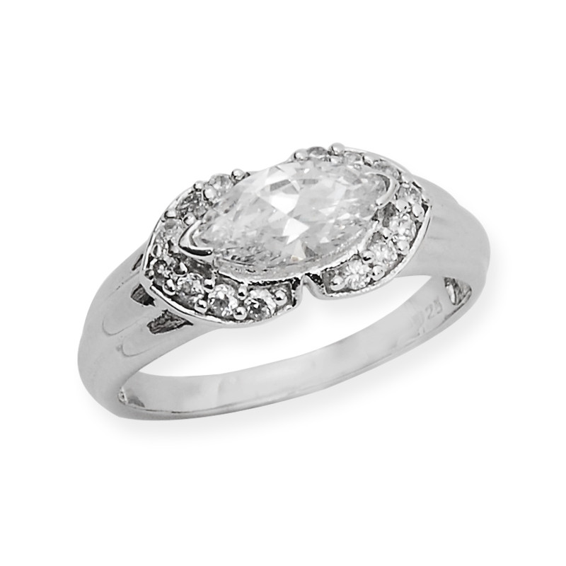 Aspire Silver Ring Mounted With Oval CZ Stone
