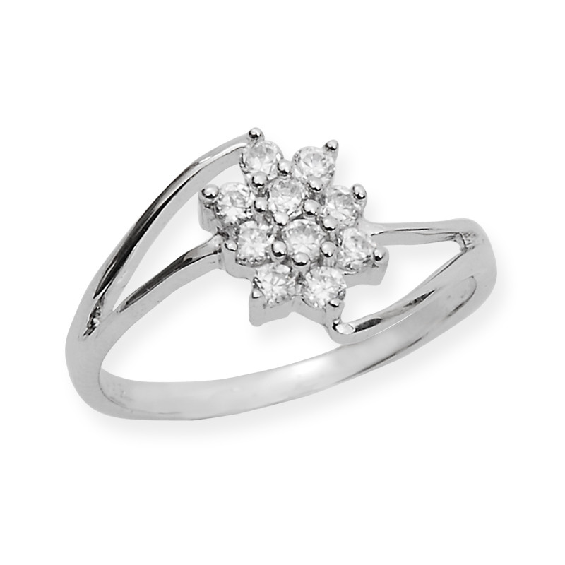 Classic 10 Stone Silver Ring