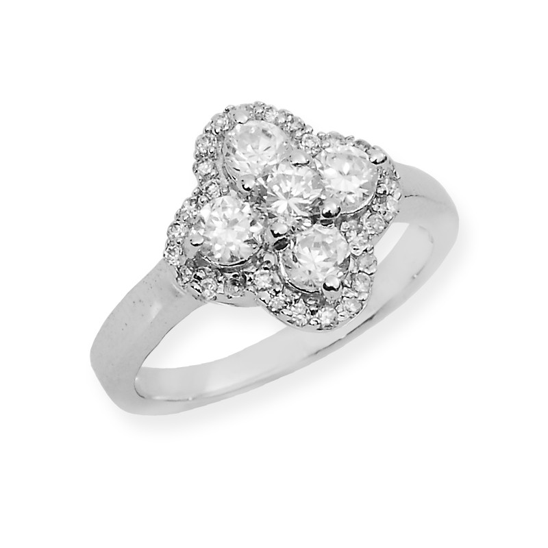 Diamond Finish Silver Ring