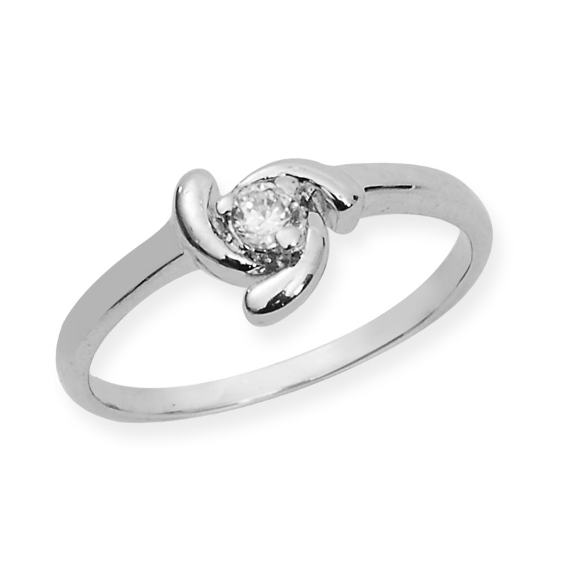 Solitaire Look Silver Ring