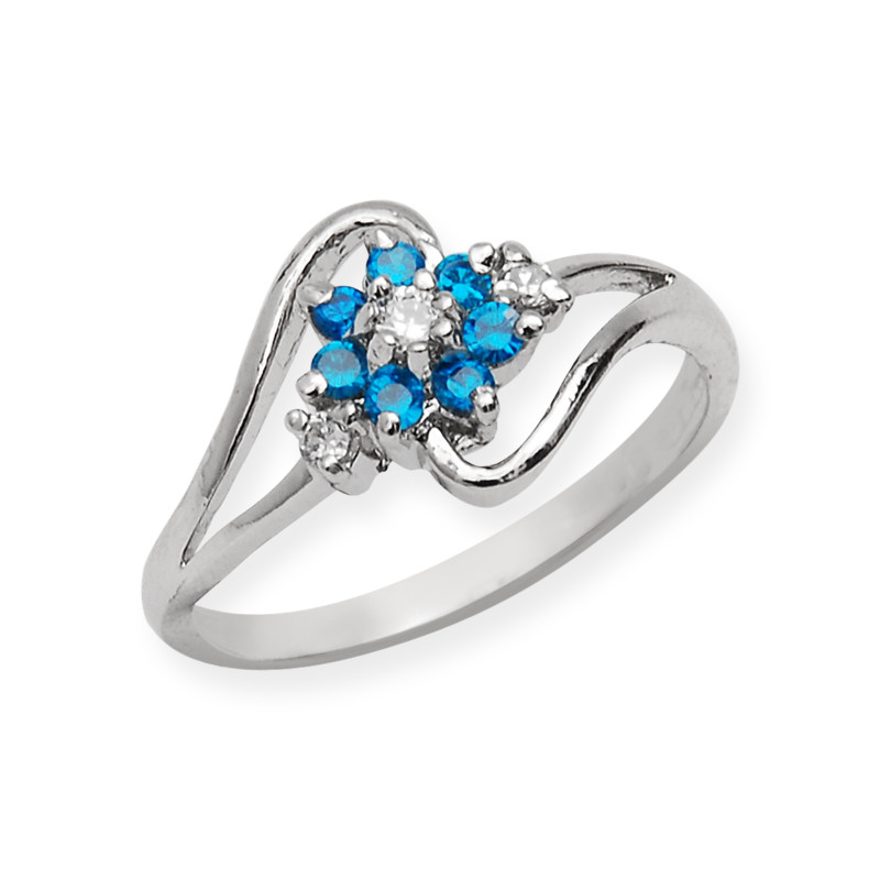 Blue Stone Floral Silver Ring