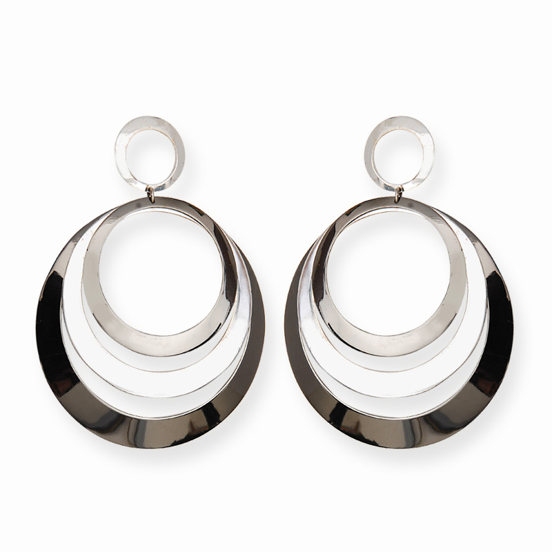 3 Row Circular Silver Hoop Earrings