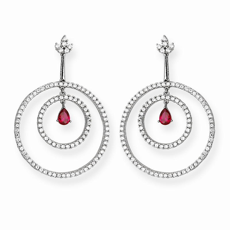 Red Pear Drop Large Silver Hoop Earrings With Zircon Stones