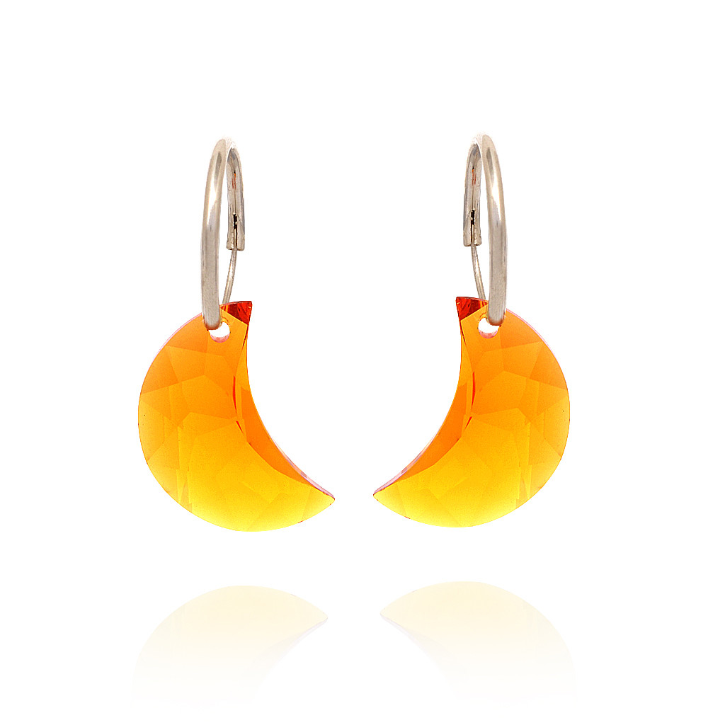 Ornament Orange Swarozski Crystal Halfmoon Silver Earring