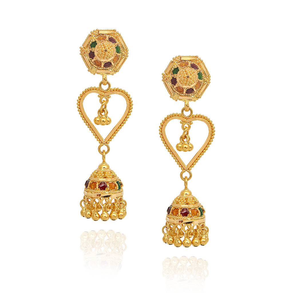 Dancing Yellow Beads With Heart Shape Design Gold Jimmiki