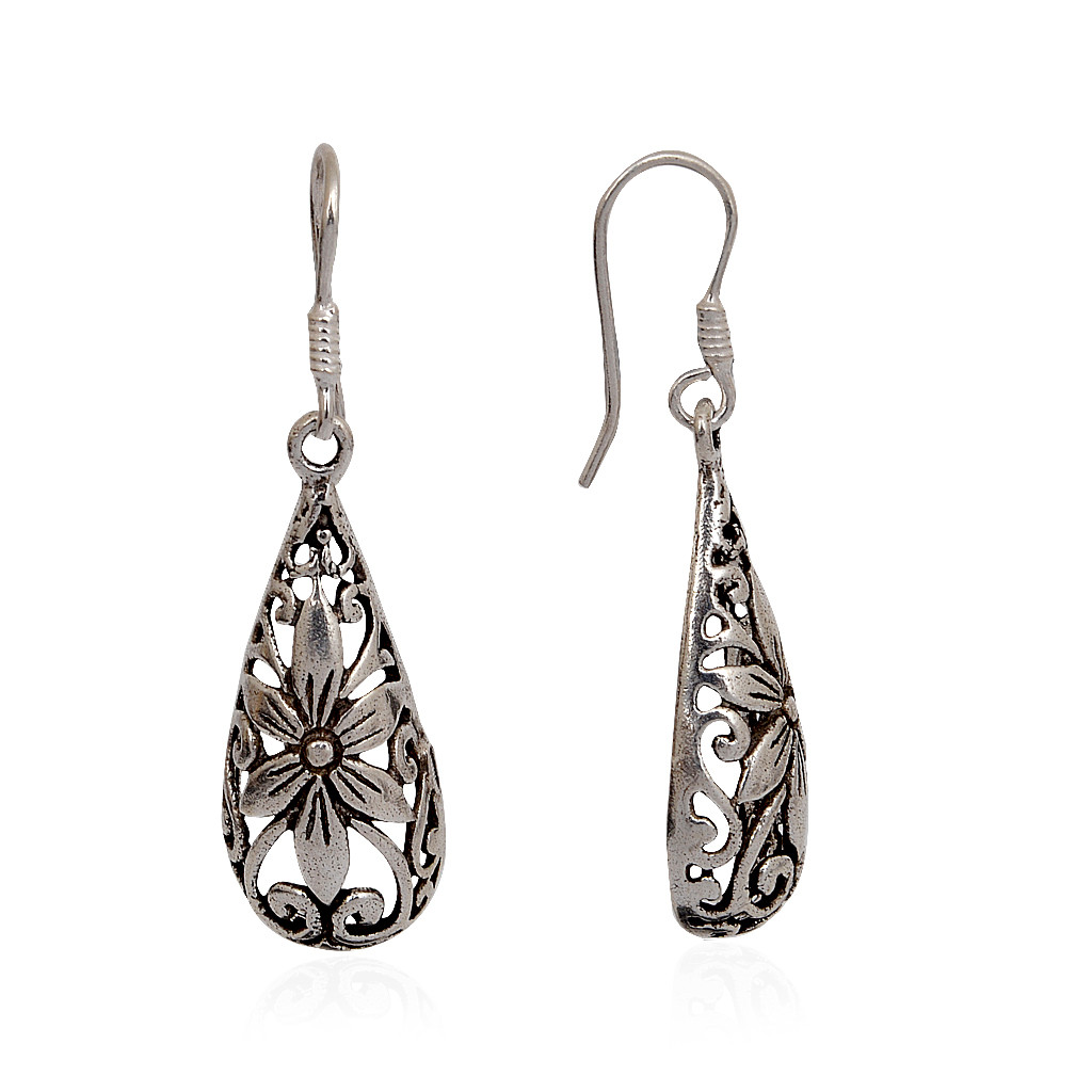 Silver Pear Drop With Hanging Flower Design Earrings