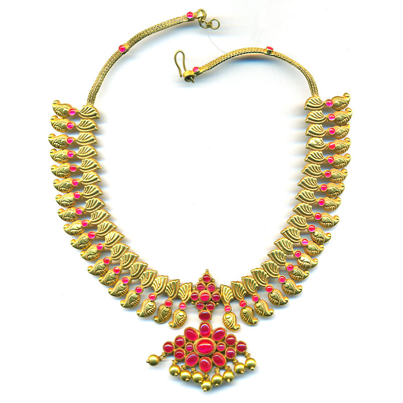Artisan Crafted Kempu Studded Mango Necklace