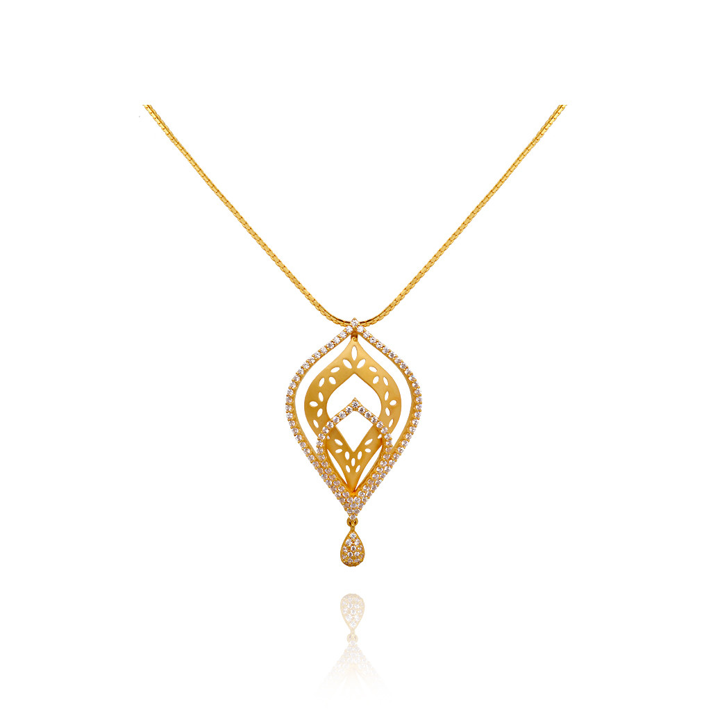 Blossom Pear Drop With White Stone Layer Gold Necklace