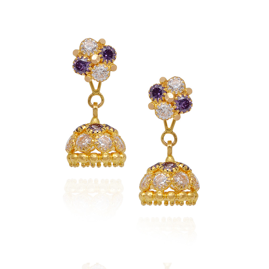 Beautiful Gold Beads With Violet & White Stone Studded Gold Jimmiki