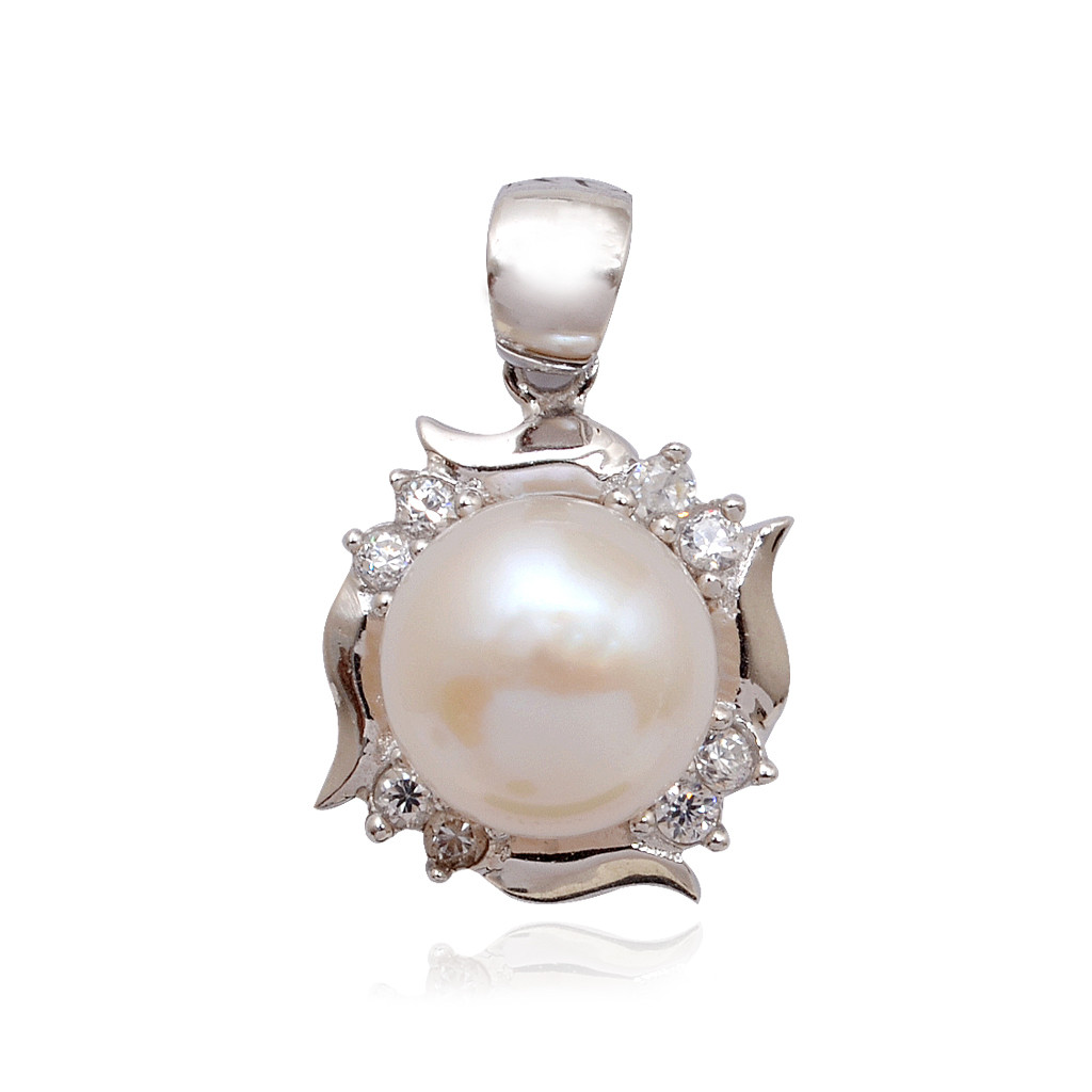 Centered Pearl With Whitestone Layer Silver Pendant