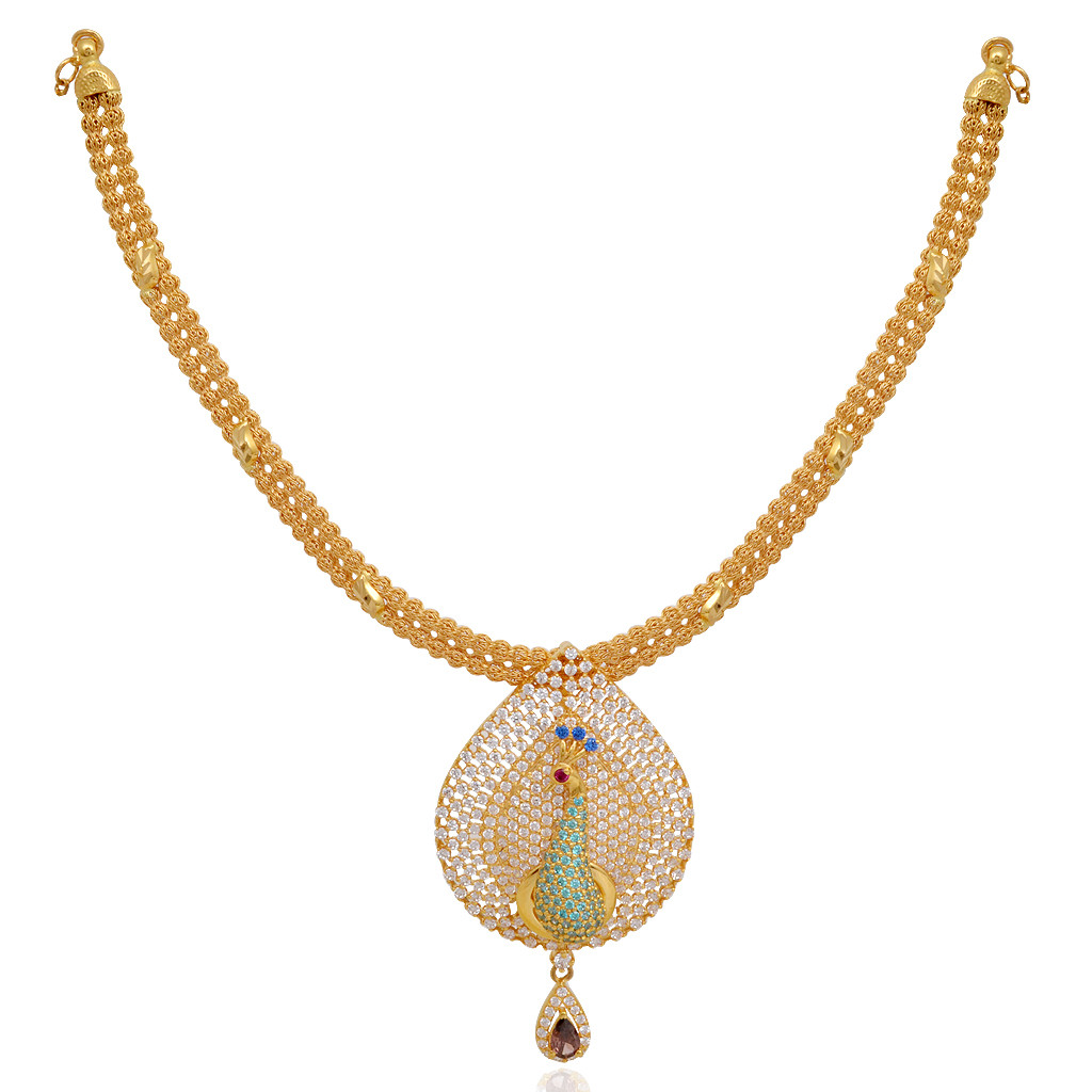 Beautiful Pear Shape Peacock Gold Necklace with earrings
