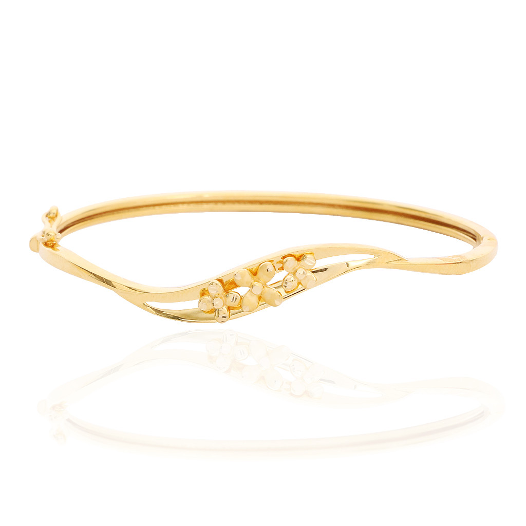 Trio Floral Wave Gold Bracelet