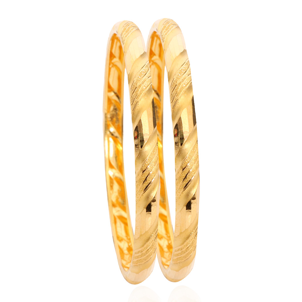 22KT D Shaped Gold Bangles