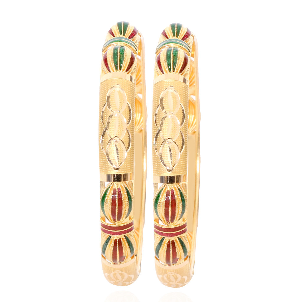 Bangles Red Amp Green Enamel Gold Bangles Grt Jewellers