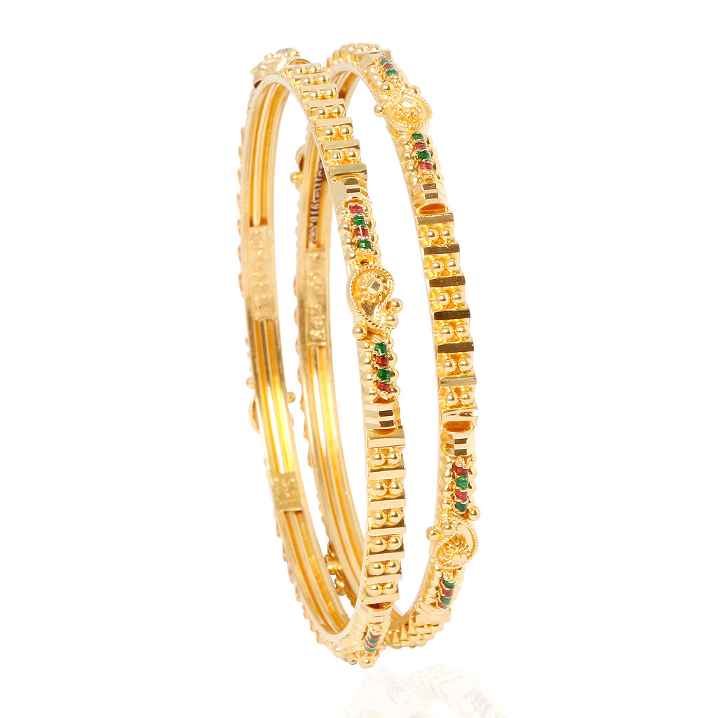 The Sheila Enameled Gold Bangles