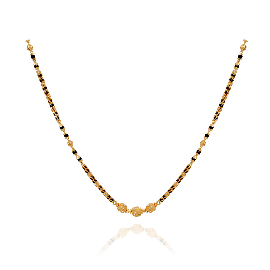 Chains Three Ball Row Black Bead Gold Chain Grt Jewellers