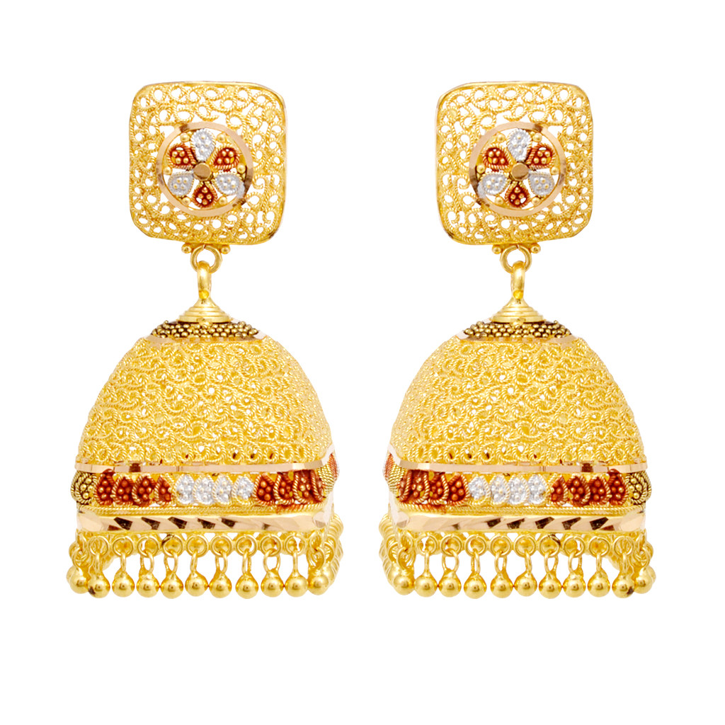 Earrings Square Shape With Hanging Gold Earrings Grt