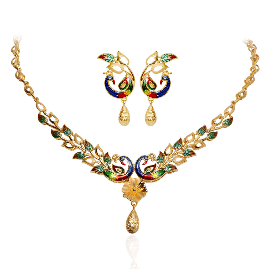 The Enameled Mayur Leaf Gold Necklace