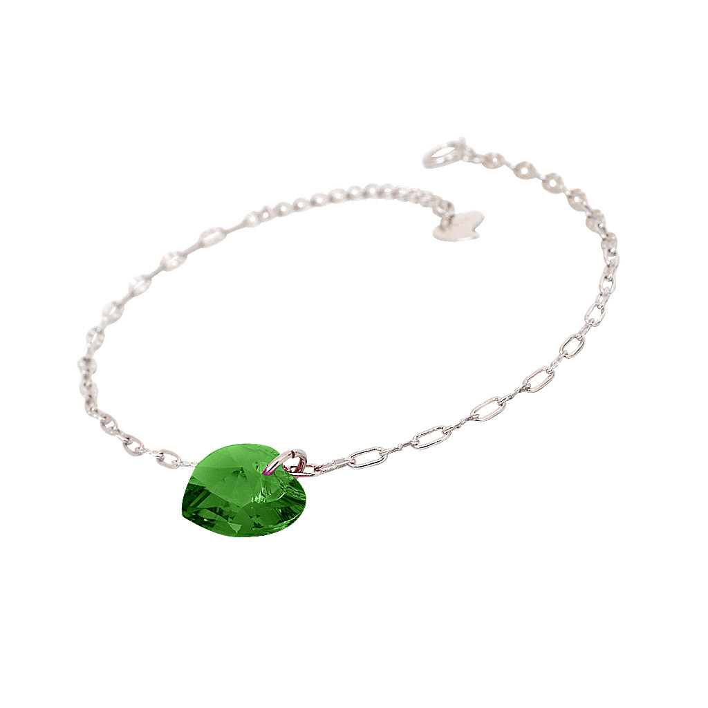 Fancy Forest Green Heart Silver Bracelet