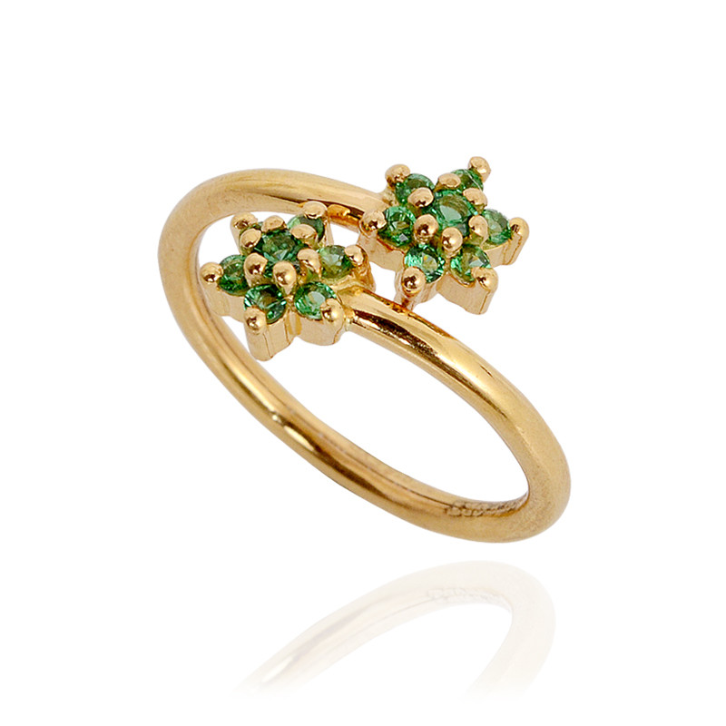 Green Stone Cross Over Double Flower Ring