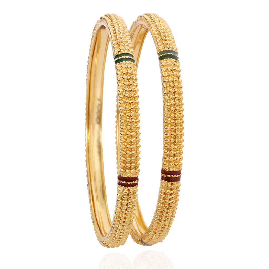 Red & Green Enameled Dailywear Gold Bangles