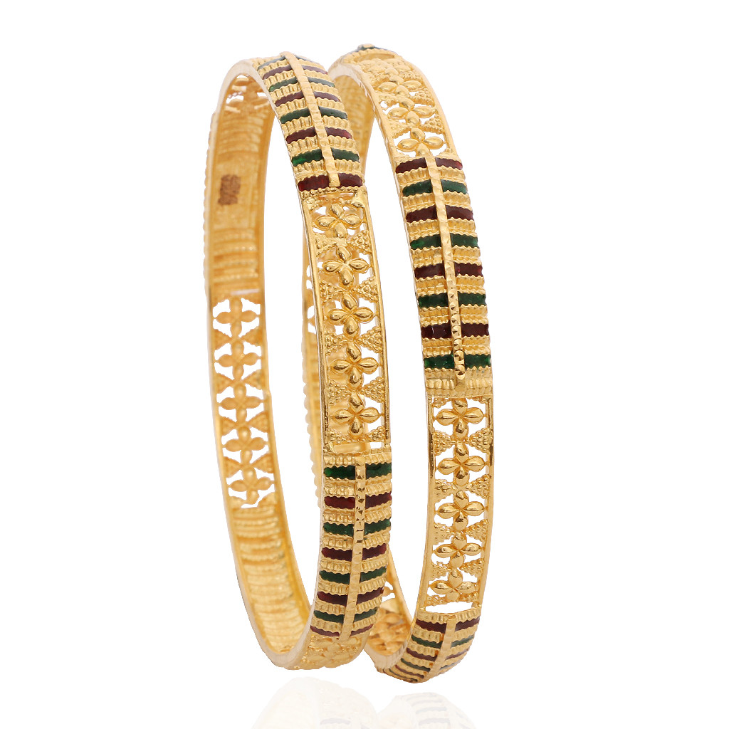 The Enameled Flat Gold Bangles