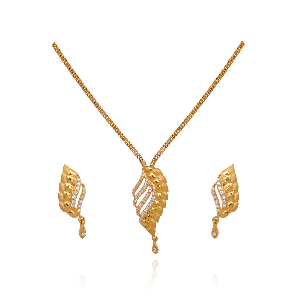 Fancy Leaf Drop 22KT Yellow Gold Necklace